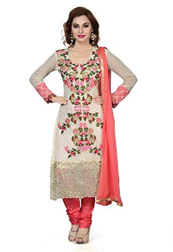 Ishin Women's Silk White & Peach Party Wear Wedding Wear Casual Daily...