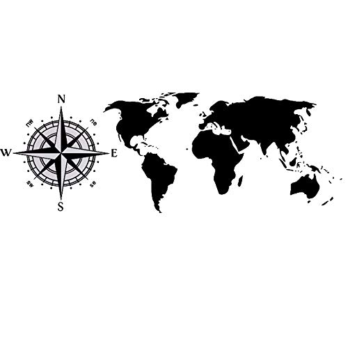 ELEBEAUTY Mundo Mapa Brújula Pegatinas Pared Etiqueta