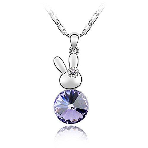 Karvnar regali per donne e ragazze gioielli animale carino coniglio ciondolo collana realizzata con cristalli swarovski e lega, colore: purple, cod. fw-f024
