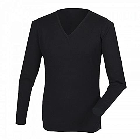Henbury Mens Cashmere Touch Acrylic V-Neck Jumper / Knitwear (M) (Black)