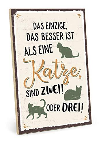 TypeStoff Holzschild mit Spruch – MEHR Katzen – im Vintage-Look mit Zitat als Geschenk und Dekoration zum Thema Haustier und Katzennarr (19,5 x 28,2 cm)