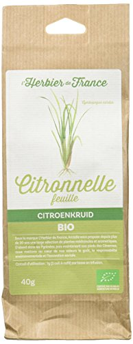 L'Herbier de France Citronnelle Feuilles Bio Sachet Kraft 40 g
