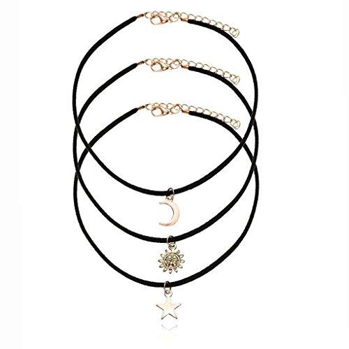 Bobury Frauen 3 teile / satz Schwarz Samt Seil Halsband Kragen Halsketten mit Stern Mond Sonne Anhänger
