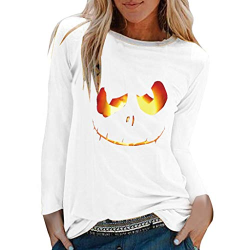 Polizistin Tote Kostüm - Battnot Halloween Kostüm für Damen Halloween-Pullover, Frauen Hoodie Cosplay Party Beängstigende Halloween 3D Kürbis Grimasse Gedruckt Langarm Oberseiten Pulli Bluse Womens Top Sweatshirt S-XXXL