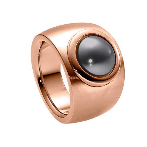 Heideman Ring Damen Coma Verlauf aus Edelstahl Rosegold farbend matt Damenring für Frauen mit Swarovski Perle grau rund 10mm