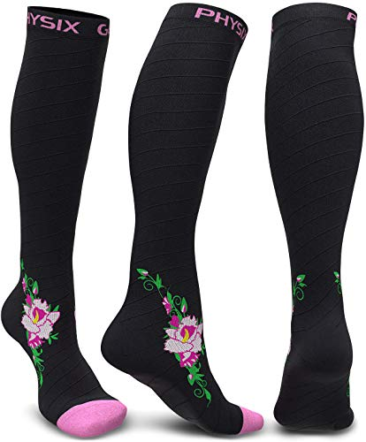 Physix Gear Compression Socks for Men & Women 20-30 mmhg, Best Graduated Athletic Fit for Running Nurses Shin Splints Flight Travel & Maternity Pregnancy - Boost Stamina Circulation - Pink Flower L-XL -