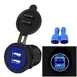 HKFV 5 V 4.2A Dual USB Ladegerät Buchse Adapter Steckdose für 12 V 24 V Motorrad Auto WUPP CS-526A3 4.2A mit Doppel-USB-Auto-Ladegerät (Blau)
