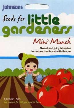 Johnsons Seeds - Pictorial Pack - Vegetable - Little Gardeners - Mini Munch Tomatoes - 50 Seeds