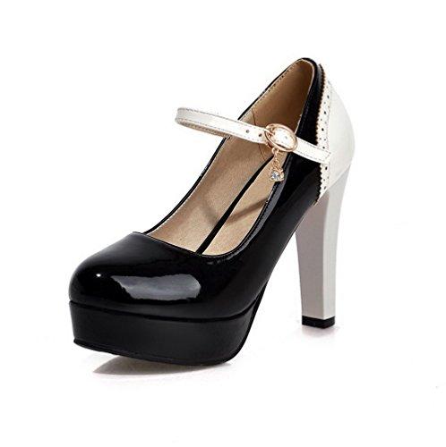 VogueZone009 Femme Pu Cuir Rond Couleurs Mélangées Boucle Chaussures Légeres Noir