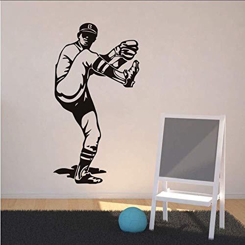 Sport Vinyl Wandtattoo Baseball Pitcher Bein In Der Luft Aufkleber Wohnkultur Kunstwand Entfernbare Wandaufkleber Sport Jungen Schlafzimmer 56X107 Cm