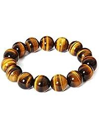 0e504b20bbe6 Neerupam colección Natural Yellow color Piedra preciosa ojo de tigre perlas  de forma redonda Pulsera