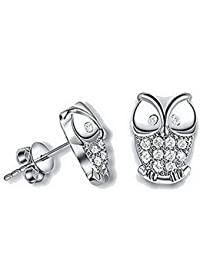 WeiMay 1pair Owl Stud Earrings para mujer Sterling Silver Owl Stud Pendientes hechos con Swarovski Zirconia