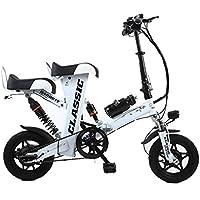 Bicicleta Eléctrica Plegable para Adultos 12 Pulgadas 48V Asiento Doble, 350W Batería De Litio Hombres