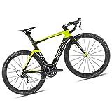 Bicicletta Da Strada, Adatta Per Persone Alte, Bici Da Corsa Da Strada In Fibra Di Carbonio Ultraleggera, Colore Rosso / Giallo, Full Hide, Famiglia Da Esterno Con Ciclo Sportivo, 7 Colori,Yellow,47CM