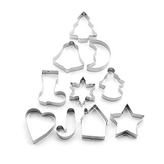 Juego de 10 piezas de moldes de acero inoxidable para galletas, molde para galletas, molde para galletas, molde creativo para hacer galletas de Navidad