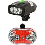 Bulfyss LED Headlight with Horn and Rear Light Bicycle Combo