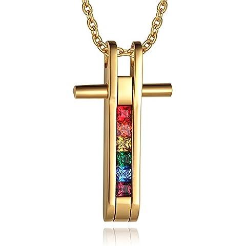 LianDuo Collana con pendente Orgoglio zirconi arcobaleno Gay Lesbiche LGBT traversa dell'acciaio inossidabile,oro,catena libera