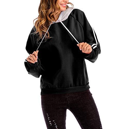 OSYARD Damen Gestreiftes Patchwork Hooded Sweatshirts Plus Größen, Frauen Bluse Lose Gestreiftes Langarm Sweatshirt Kapuzenpullover Pullover Tops Stickerei Kapuzen (L, Schwarz)
