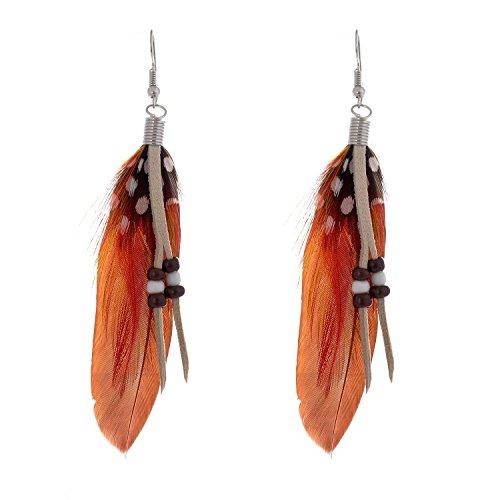 Lureme® Estilo bohemio plumas de faisán con perlas a juego cuelga los pendientes para las mujeres y las niñas (02004735-1) marrón