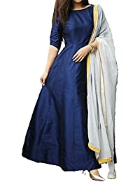 Sarees Creation Women's Silk Long Cholis Salwar Suit Set (Dress Materils_Neavy Blue_Free Size)