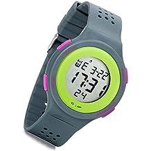 Lancardo Reloj Deportivo Digital de Multifunciones Impermeable de 10m Pulsera Electrónica con Luces Correa de Silicona para Actividad Deportes Exteriores para Chico Chica (Gris)