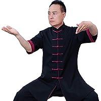 JTKDL Ropa De Tai Chi Ropa De Verano Holgada De Manga Corta para Hombre Ropa De Fitness Qigong Ropa De Práctica De Tai Chi,Black-S