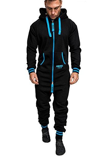 Amaci&Sons Herren Overall Jumpsuit Jogging Onesie Trainingsanzug 3007 Schwarz/Blau L
