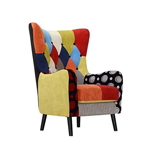 Italian concept 51 poltrona flavia, legno, poiluretano e tessuto, multicolore, 80 x 76 x 108 cm
