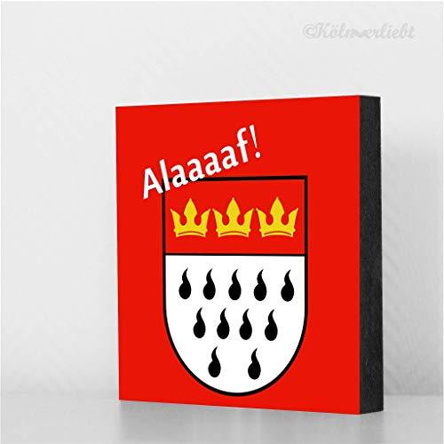 Wappen Alaaf (roter Hintergrund), Karneval, Deko, MDF, Geschenk, Deko, Kölngeschenk, Cologne, Kunst, Holz ()