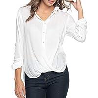 Hanomes Damen pullover, Frauen Solide Weiß Langarm-beiläufige Lose Arbeit Office Button Shirt Bluse Top preisvergleich bei billige-tabletten.eu