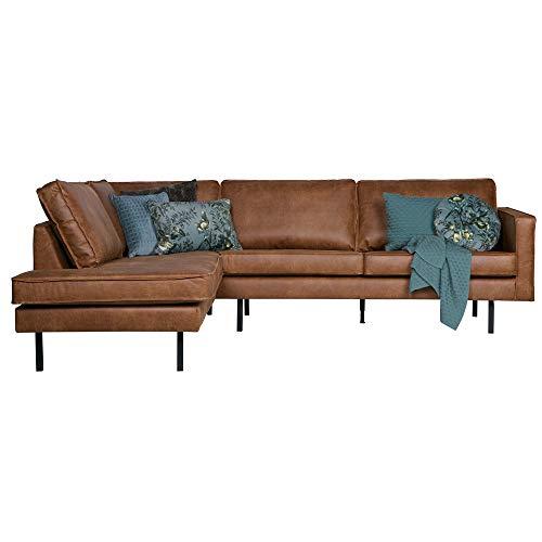 Eckgarnitur Rodeo Leder Cognac Couch Sofa Ecksofa Ledercouch Longchair Links