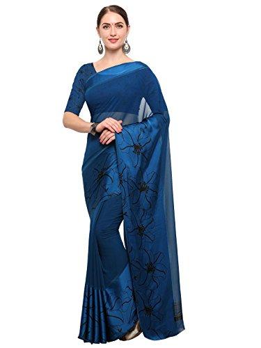 Kanchnar Women's Navy Blue Georgette Printed Satin Patta Saree