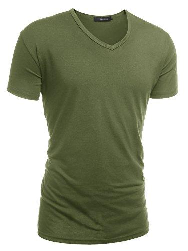 HEMOON Herren Slim Fit Kurzarm T-Shirt Basic V-Ausschnitt Tee Einfarbig Militär Grün L (Tee Stretch-baumwolle V-neck)