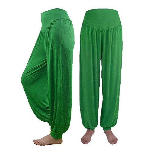 Damen Hosen cinnamou Pluderhosen Frauen Lässige Modal Baumwolle Hosen Lange volle Hosen lose weiche Harem Hosen für Yoga Sport Tanz (M, Grün) -