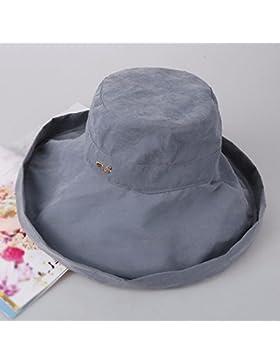 LVLIDAN Sombrero para el sol del verano Lady Anti-sun pescador sombrero gris plegable