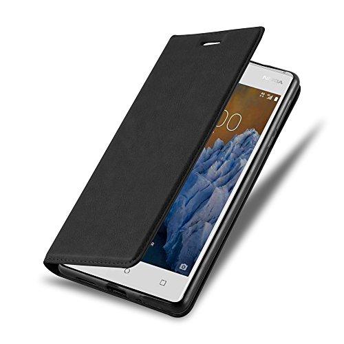 Nokia 3 Hülle in NACHT SCHWARZ von Cadorabo - Handyhülle mit unsichtbarem Magnetverschluss Standfunktion und Kartenfach für Nokia 3 Case Cover Schutzhülle Etui Tasche Book Klapp Style