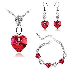 Klaritta Schmuckset Halskette und Armband mit Herzen, Rot S406