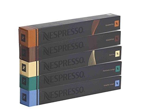 Nespresso Kapseln 50 Kaffekapseln - 10x Fortissio Lungo 10x Vivalto Lungo 10x Ciocattino 10x Caramelito 10x Vanilio - Neues Set!
