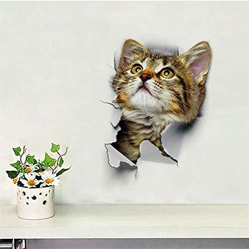 Nette katze hund wc aufkleber dekoration diy lustige cartoon tier wc wandbild kunst lebendige 3d kätzchen welpen pvc wandtattoo bin