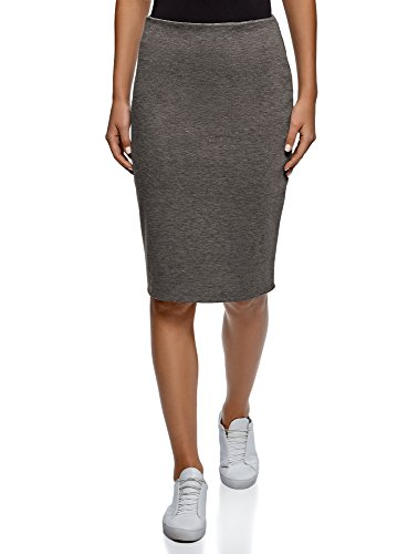 oodji Collection Damen Gerader Rock mit Schlitz, Grau, DE 40 / EU 42 / L