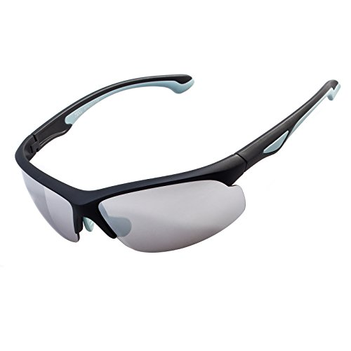 Meetlocks Occhiali da sole sportivi, PC Frame, 100% protezione UV, per il ciclismo, baseball, equitazione, Guidare, corsa, golf, attività all'aperto