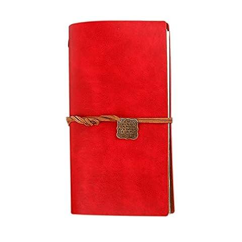Foonii Einfaches und Art- und WeiseRetro- Notizbuch, Reise-loseblatt Notizbuch mit Bügeln und lamelliertem Notizbuch (Rot)