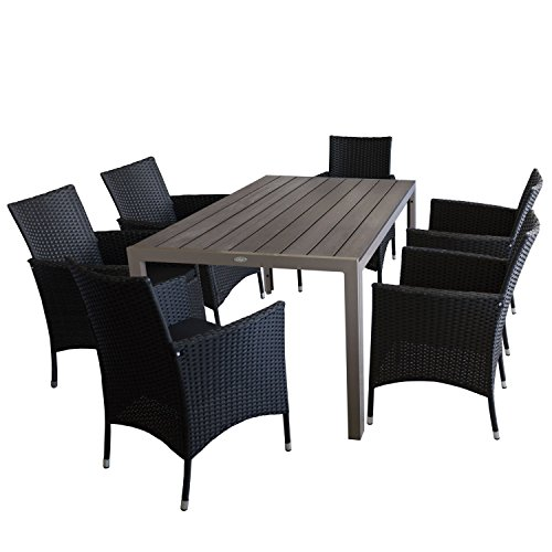 7tlg. Gartengarnitur Gartentisch, Aluminiumrahmen, Tischplatte Polywood, champagnerfarben, 150x90cm + 6x Rattansessel, Polyrattan Schwarz, stapelbar