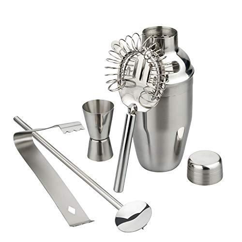 ALPINA - Premium Cocktail-Set | Komplett-Set mit Cocktail-Shaker (350ml), Jigger (15/30ml), Strainer, Rührer und Eiszange | Aus rostfreiem INOX-Stahl | Spülmaschinenfest |ideal als Geschenk