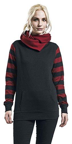 Nastrovje Postdam Shawl Collar Stripes Hoodie Girl-Kapuzenpulli schwarz/burgund Schwarz/Burgund