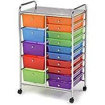 Meubletmoi Mueble de almacenaje con Cortador Acero Cromado Acero Inoxidable – 15 cajones Multicolores plásticas –