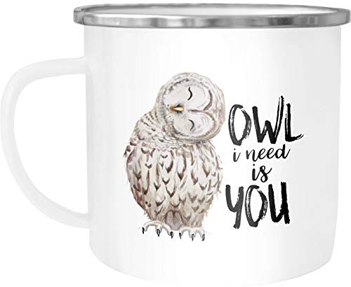 Moonworks Emailletasse Becher Eule Spruch Owl I need is you All i need is you Kaffeetasse weiß-metall unisize