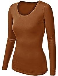 2f239239f4a7 Damen Frauen Langarm Unterhemd - Rundhalz T-Shirt - Basic TShirt - Basis  Bluse -