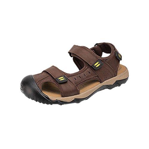 Zhuhaixmy Freizeit Männer Sommer Leder Strandschuhe Sandalen Draussen Hausschuhe Rutschfest Schuhe Dunkelbraun