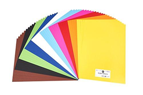 perfect ideaz 50 Blatt DIN-A2 Foto-Karton bunt, Bastel-Papier, Bogen durchgefärbt, 10 verschiedene Farben, 300g /m², Ton-Zeichen-Pappe zum Basteln, buntes Blätter-Set farbig, Plakat-Bedarf